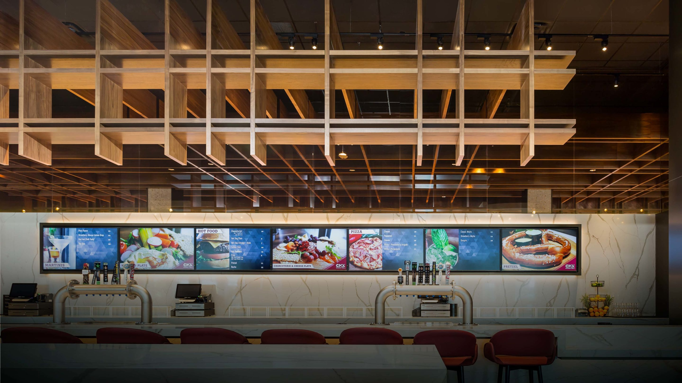 Wood acoustic baffles at CMX theater