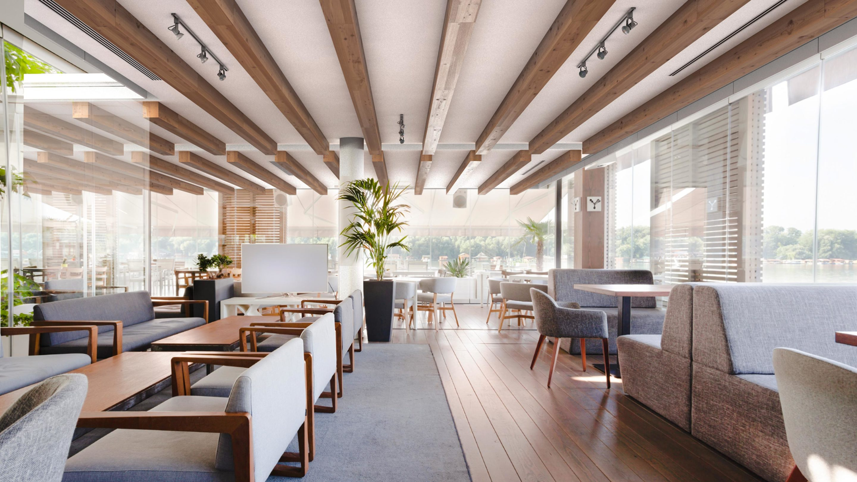 Neutral toned restaurant showcasing wood acoustic beams on the ceiling.